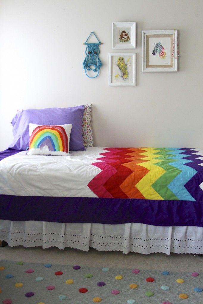 rainbow chevron quilt