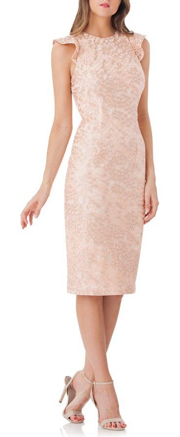 back cutout lace sheath dress by Carmen Marc Valvo Infusion. Fluttery sleeves and a blade-baring cutout add to the flirty appeal of a cobwebby lace sheath in an elegant below-knee length. Style Name: Carmen Marc Valvo Infusion Back Cutout Lace Sheath Dress. Style Number: 5518998. Available in stores. #carmenmarcvalvoinfusion #dresses