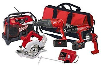 "Milwaukee 0923-25 18-Volt Cordless 4-Tool Combo Kit, includes 1/2-Inch Lok-Tor Hammer Drill, ""The Hatchet"" Sawzall, Circular Saw, Radio, and Worklight"
