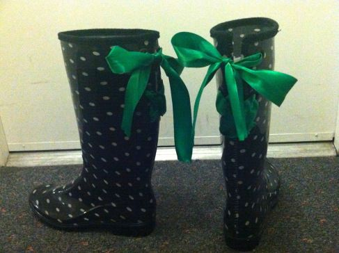 DYI rain boot with bows.