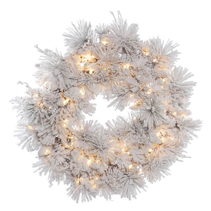 Vickerman 36 in. Flocked Alberta Pre-Lit Wreath with 100 Clear Lights - A155337