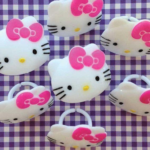 Hello Kitty Cupcake Topper Rings 12 Hello Kitty by CrankyCakesShop