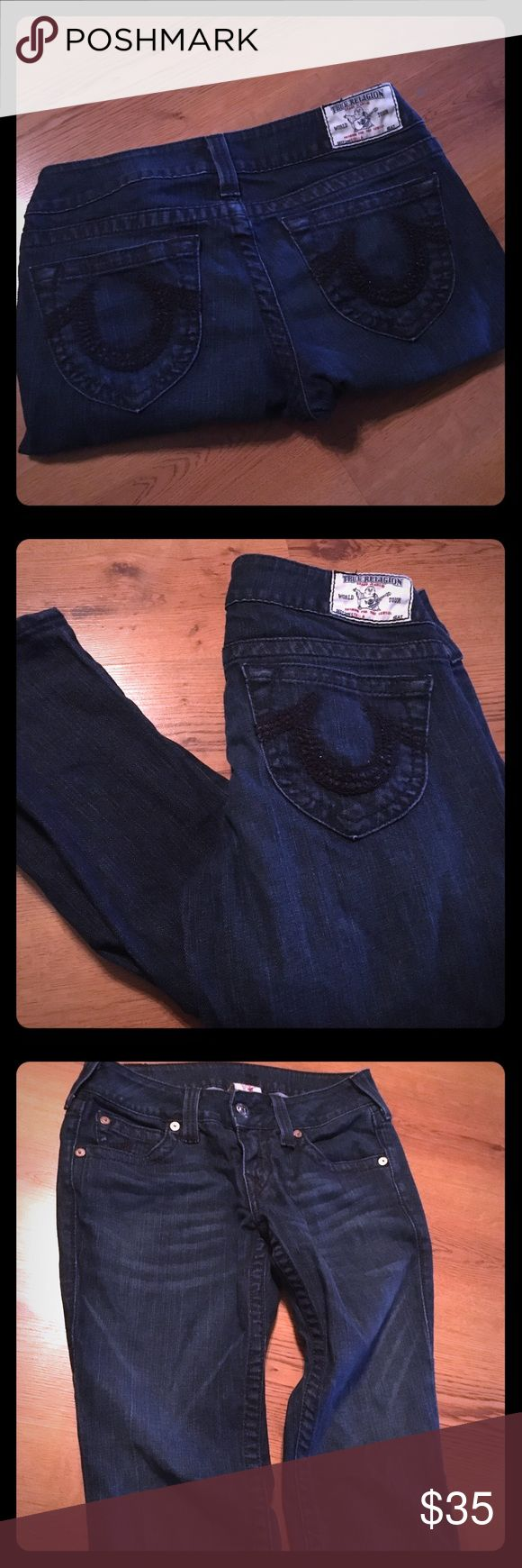 """True Religion Mid-rise Super Skinny Women's Jeans Halle Mid Rise Super Skinny Jean for Women are a chic style on the city streets or in the office.  Womens Super Skinny Leg  Zip fly with button closure 8.75"""" Rise 29"""" Inseam 10"""" Leg opening 84% Cotton, 14% polyester, 2% spandex Color: Worn Vintage True Religion Jeans Skinny"""