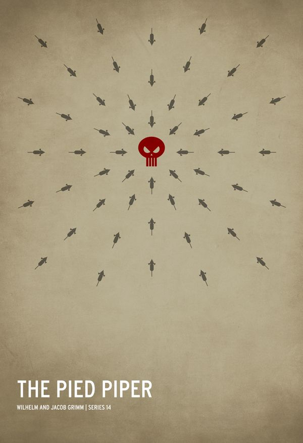 Minimalist fairy tale posters by Christian Jackson: Wilhelm and Jacob Grimm's The Pied Piper. http://www.imagekind.com/GalleryProfile.aspx?gid=506502a6-9ebb-453c-a5f0-90cd14c2abbc