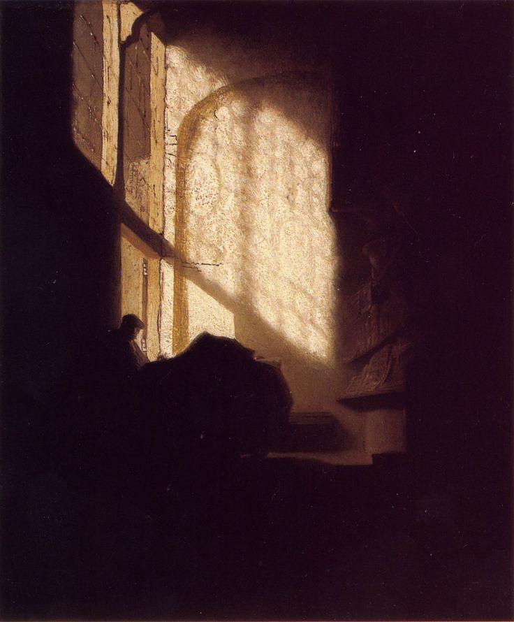 """Rembrandt (1606-1669, Países Bajos): """"Hombre leyendo en la mesa de una habitación noble"""" (1630), The National Gallery, Londres"""
