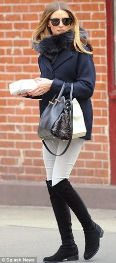 I always thought navy and black together was an underrated color combination. Add white jeans in winter - perfection.   Shoes - hers: http://shop.nordstrom.com/s/stuart-weitzman-5050-over-the-knee-leather-boot/2905315?origin=keywordsearch cheaper: http://shop.nordstrom.com/s/louise-et-cie-andora-over-the-knee-boot-women/3727595?origin=keywordsearch Cheap faux snood: http://www.forever21.com/Product/Product.aspx?br=f21&category=ACC&productid=1000120971&SizeChart=