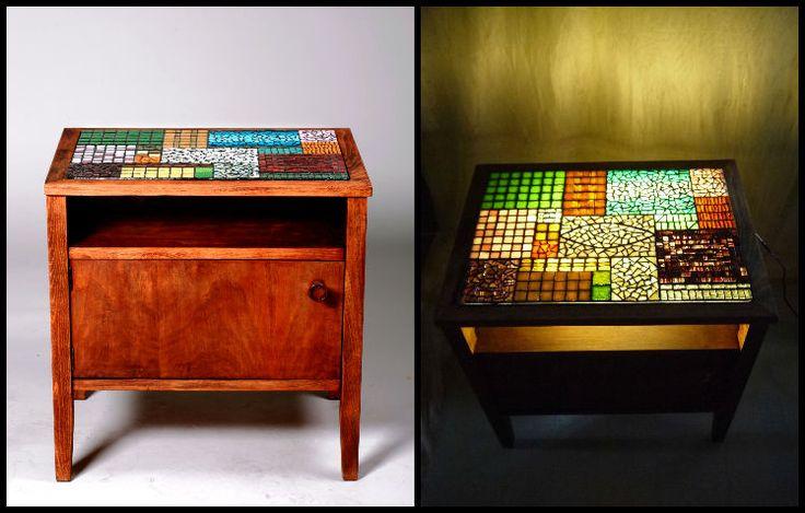 """""""Patchwork"""" világító mozaik szekrényke / """"Patchwork"""" illuminating mosaic nightstand"""