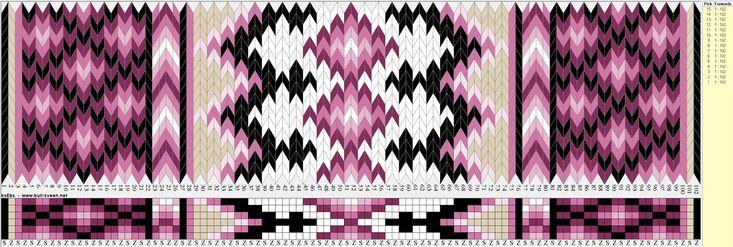 Bunad, Smykker, vev & rosemaling: Mønster til brikkevevd bunadsbelte, 6 hull.