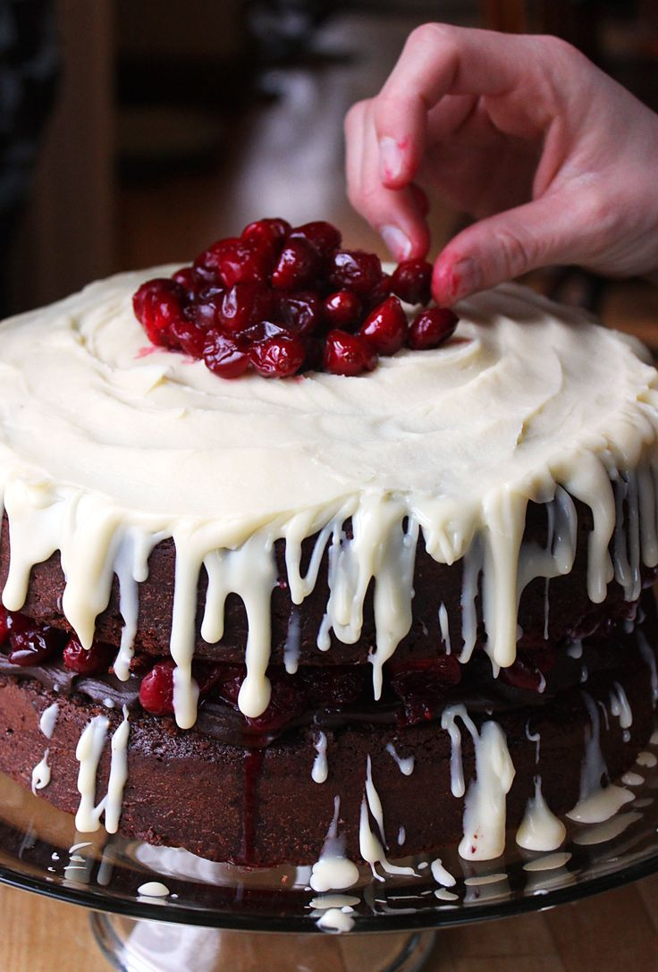 ❥ Christmas cake.. Triple Chocolate Layer Cake with Maple Roasted Cranberries~ OHMY, this looks divine...