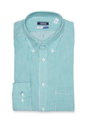 Izod Men's Performx Regular Fit Bengal Stripe Stretch Dress Shirt - Green Stone - 15-15.5 34/35