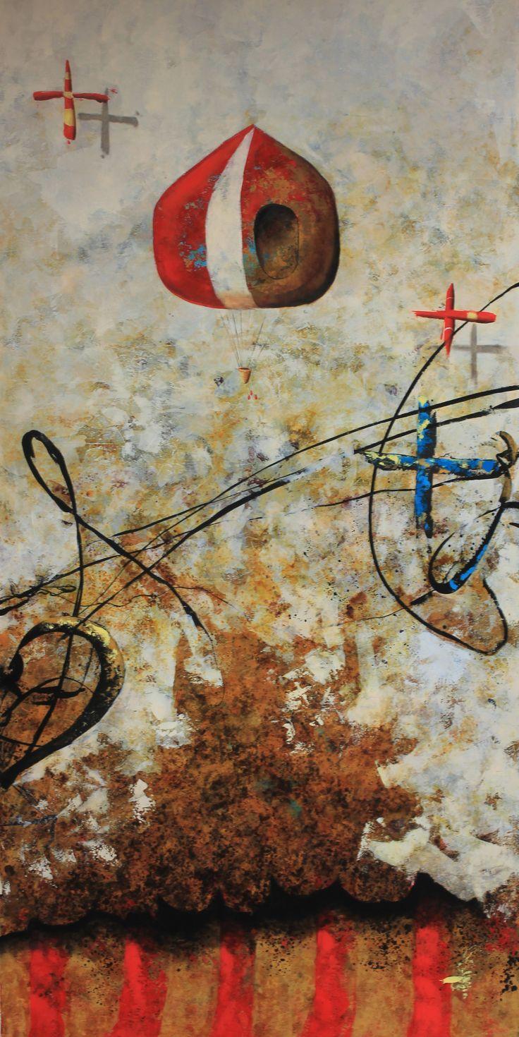 Título: Sucesos del aire. Formato:   200 x 100 cm. Técnica: Óleo y acrílico sobre lienzo. Año: 2014