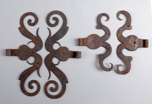 """Two pair of wrought iron ram's horn hinges, 18th c., 17 1/4"""" w., 12 1/2"""" w."""