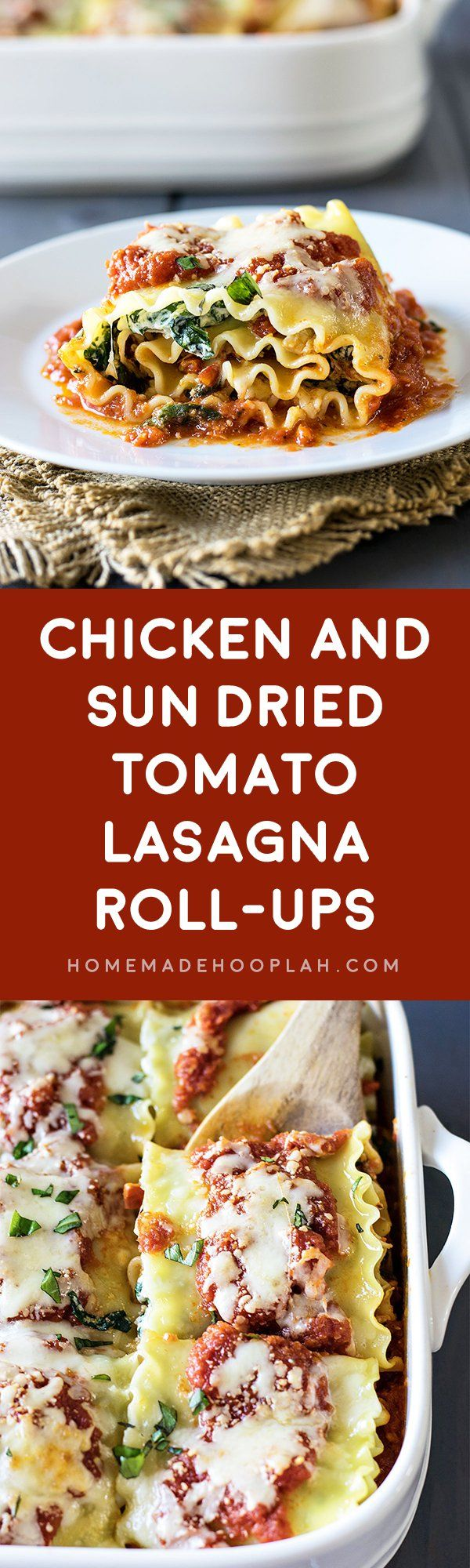 Chicken and Sun Dried Tomato Lasagna Roll-Ups! Take the delicious combo of chicken and sun dried tomatoes and wrap them up in a lasagna roll-up. Two great classics make a bold new flavor!