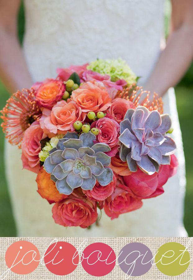 Des couleurs vives, des roses, des baies, de l'hortensias, des succulentes et des pelotes d'épingles oranges  (Leucospermum cordifolium en latin dans le texte)