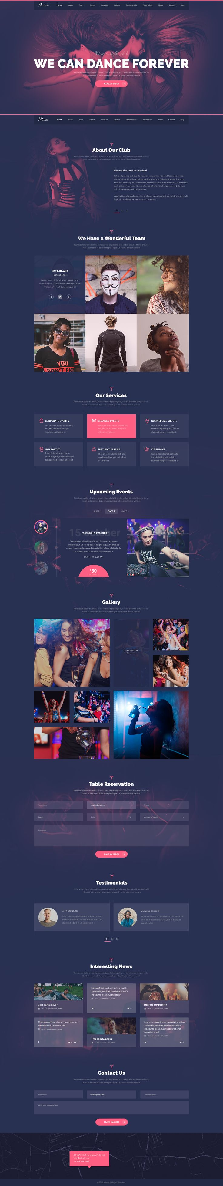 Miami  a visually powerful PSD template for your dance club, night club, lounge bar, or DJ career. The template has unique colorful visual elements and style.    Get now WordPress Version on special...