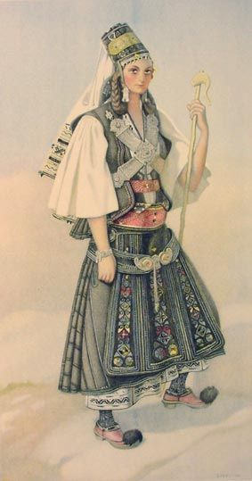 Traditional festive costume from Greece (Karagouna, Epirus).    Late-Ottoman era, 1850-1900.