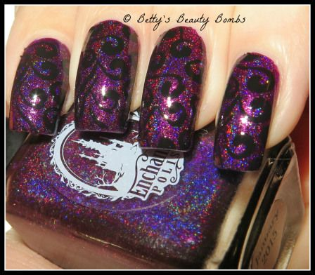 http://www.bettysbeautybombs.com/2015/03/19/purple-and-black-stamping-nail-art/ / Enchanted Polish January 2015 Nail Art