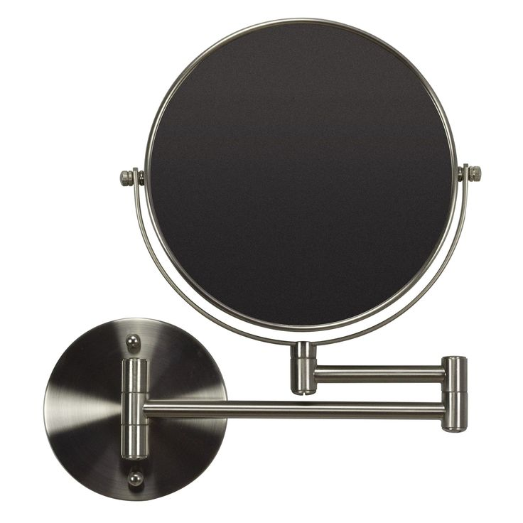 American Imaginations 19.56-in. W Round Brass-Mirror Wall Mount Magnifying Mirror In Brushed Nickel Color