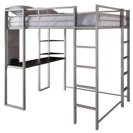 dorel home products full abode loft bed with desk and shelves silver and black