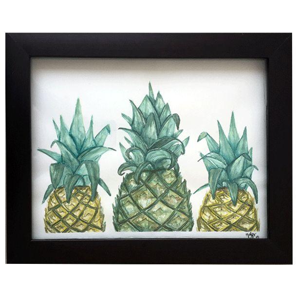 Piñas watercolor #Art3Mas