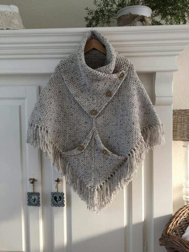 Poncho from CCC - poncho with moss stitch with a pocket on front. Poncho Pattern: Chain 80,close the chains with a slip stitch,1row SC, increase on every 20th stitch*1 SC,1 chain,1SC* keep increasing in every row in this stitch,use markers.. Moss stitch= 1 SC,1Chain, just crochet in the round until it is long enough for your size The pocket on the front: Crochet a square in the moss stitch and attach it on the sides and in the middle on the height that suites your own size..