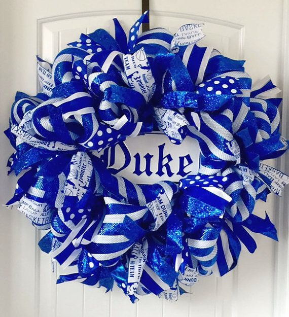 DUKE Wreath Duke University Duke Blue Devils by beadingheartdecor
