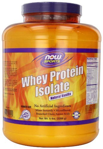 NOW Foods Whey Protein Isolate Natural Vanilla, 5 Pounds