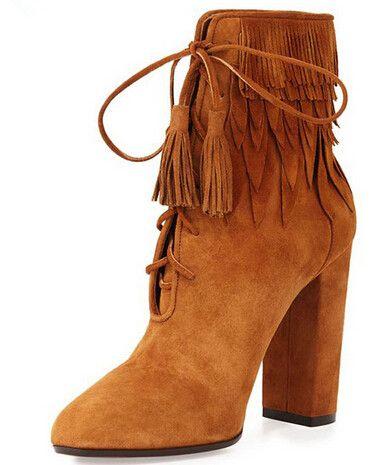 Franja botas grossas de salto alto Lace Up botas de tornozelo mulheres curto botas de vaqueiro ocidental 2016 Designer de moda Tan Suede alishoppbrasil