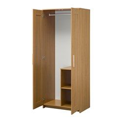 IKEA - BRIMNES, Wardrobe with 2 doors, Perfect for folded as well as long and short hanging garments.If you want to organise inside you can complement with SKUBB box 3-pack.Adjustable hinges ensure that the doors hang straight.Self-closing hinges automatically close the door the last part of the way, so the wardrobe is never left open.