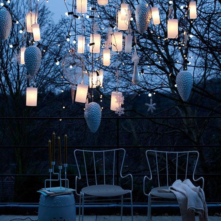 Lantern Decoration | ... White Christmas Lantern Lights Decorations And Pine Cone For Outdoors