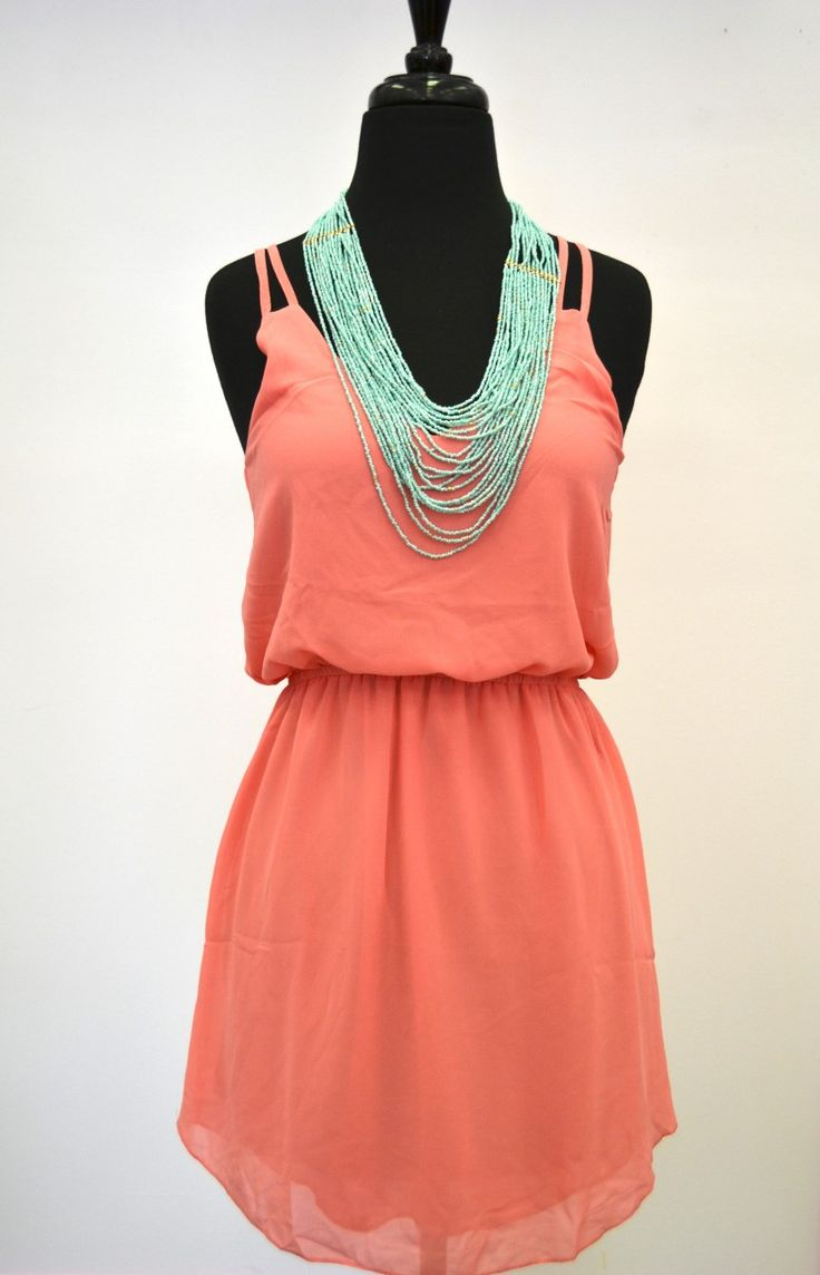 These colors are amazing togetherSummer Dresses, Colors Combos, Mint Green, Color Combos, Turquoise Necklace, Colors Combinations, Summer Colors, The Dresses, Coral Dresses