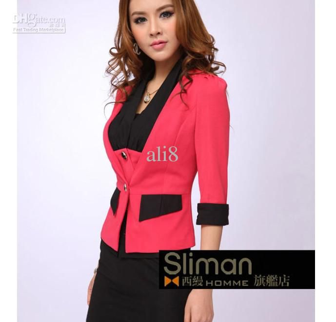 women in red suite | Red half sleeve women's small suit hotel career skirt Female staff ...