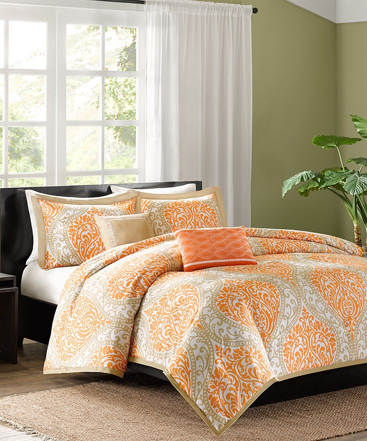 Modern Orange Checked Pattern 4-Piece Flannel Duvet Cover ...  Orange Duvet Cover
