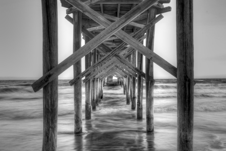 Black and white photo of holden beach fishing pier for Holden beach fishing pier
