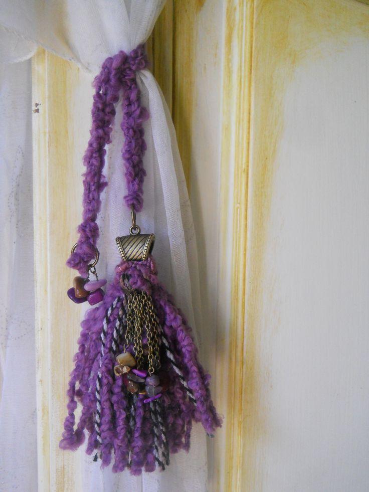 Adorno para cortinas o puertas. Lazo de lana con terminal ...