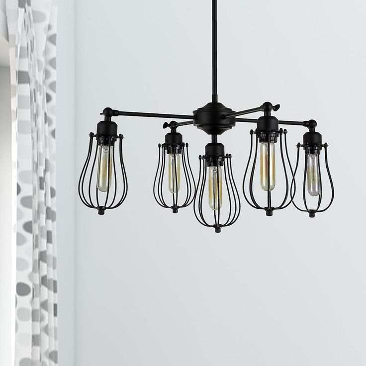 Warehouse of Tiffany Cloote 5-Light Black Edison Chandelier Edison Bulbs Included (5-Light Black Edison Chandelier Bulbs Included)