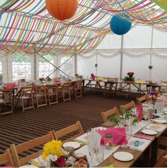 Lovely decor for an unlined marquee