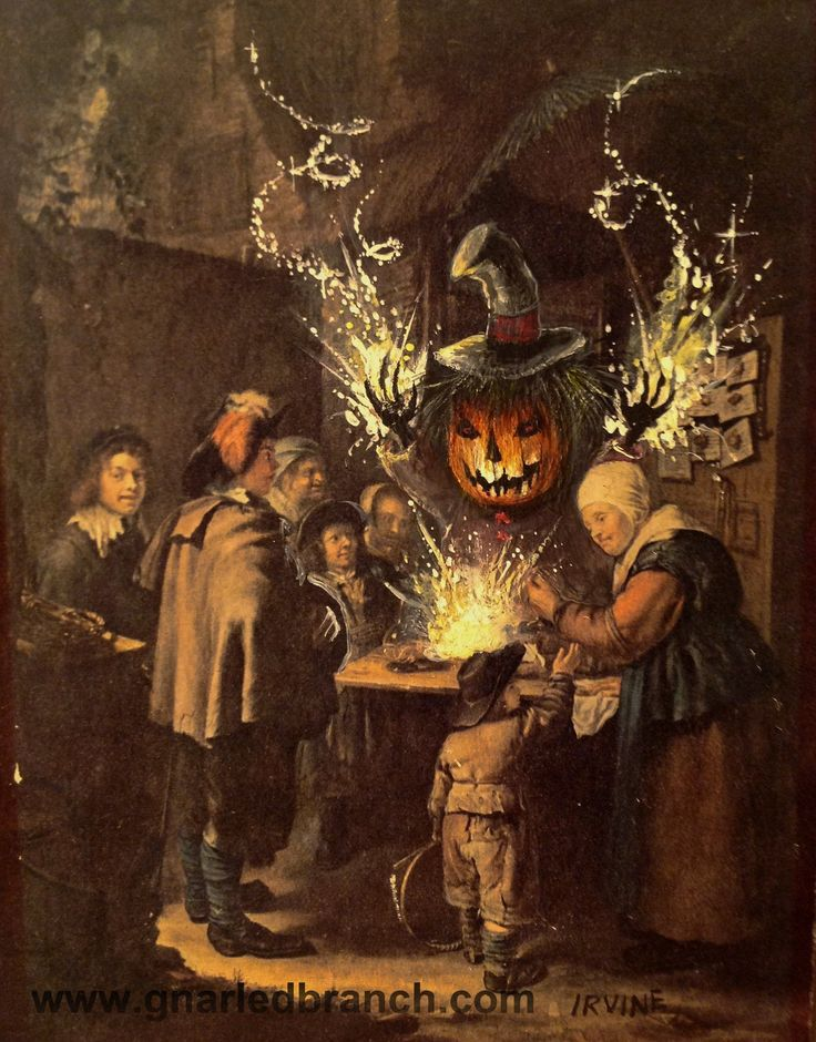 """David Irvine says """"I bought this print at a yard sale, and added in the Pumpkin Magician and sparkles. I call this series of work Re-Directed Painting. My only rule is that I never paint over the signature of the original artist."""""""