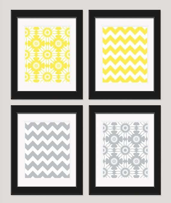 Yellow Gray Wall Art, Yellow Grey Chevron, Home Decor, Set of 4 – 8×10 Prints, Bedroom Art, Wall Decor, Yellow Gray Art Prints