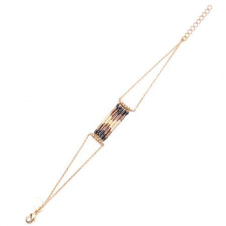 Bracelet Folk chaine plaquée or et perles Miyuki marron