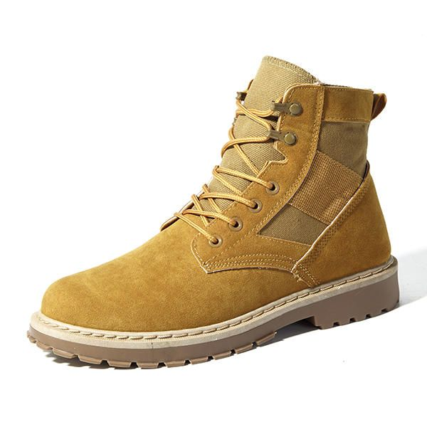 Men Comfortable Army Style Canvas High Top Boots - US$38.94