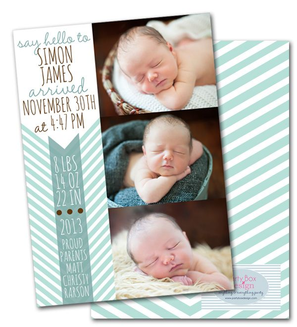 baby anouncements, birth announcements, chevron, modern baby announcements via Party Box Design