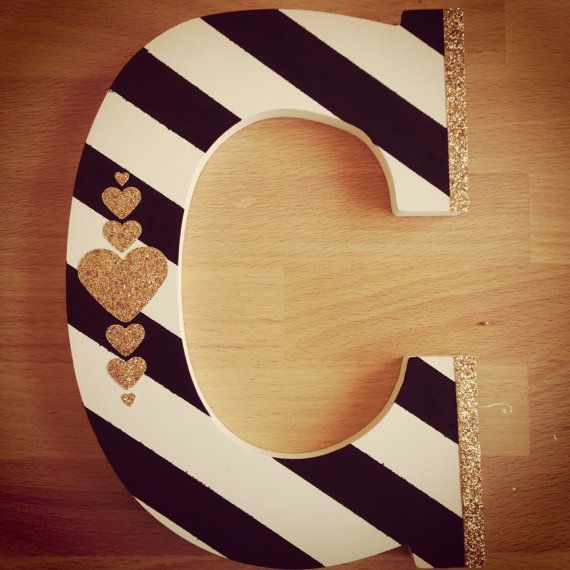hand painted wood letter with gold glitter heart details httpswww