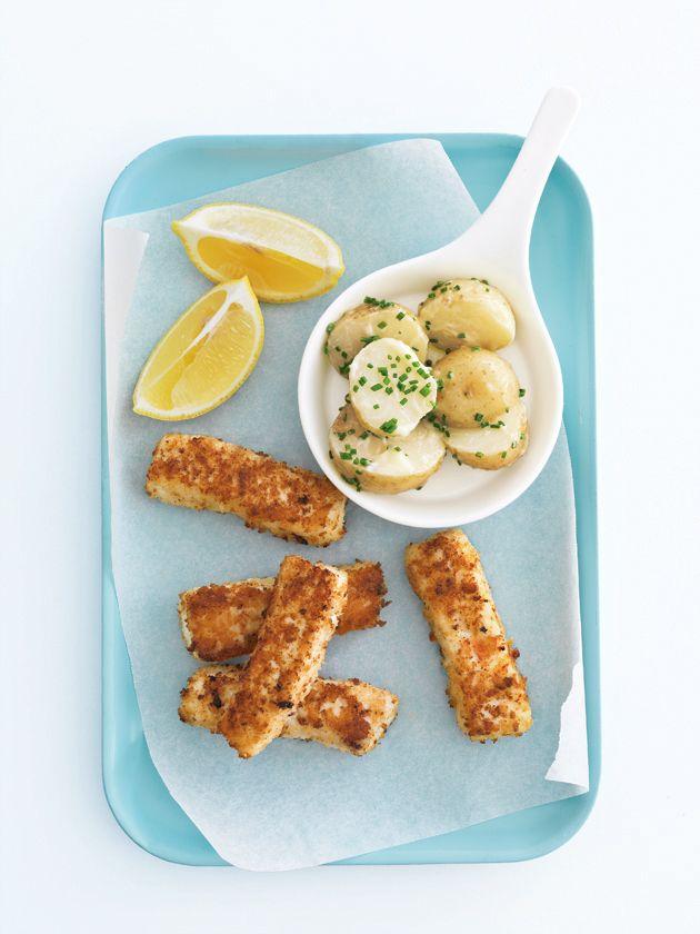 fish fingers with potato salad