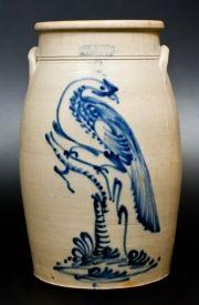 Outstanding 6 Gal. HAXSTUN, OTTMAN & CO. / FORT EDWARD, NY Stoneware Churn with Bold Pheasant Decoration