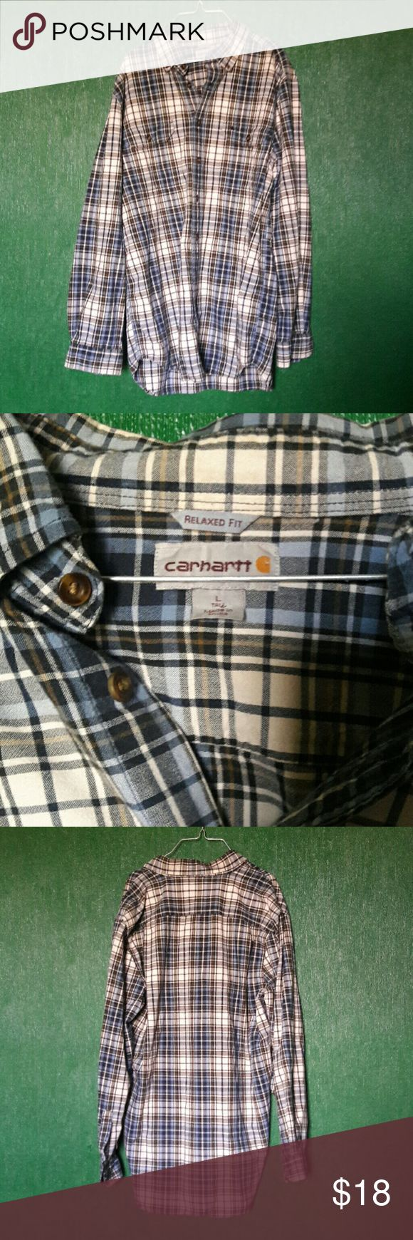 "Carhartt plaid cotton shirt 100% cotton plaid shirt. Brown, blue and white plaid print. Excellent condition. Thick material, great for spring layering.  Measures 33"" long, 23.5"" armpit to armpit, sleeve 25"" shoulder hem to cuff  Size is Large Tall Carhartt Shirts Casual Button Down Shirts"
