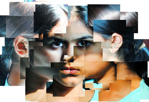 """Hockney inspired front on portrait with profile portraits facing in or out - image inspiration: Sonalika Jain 'Joiner"""""""