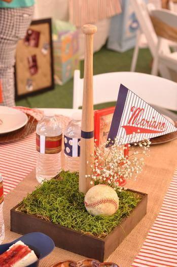 Vintage Baseball Baby Shower Centerpiece Decoration Ideas