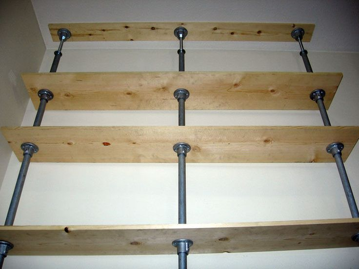 Stack of 3 pipes from floor to ceiling