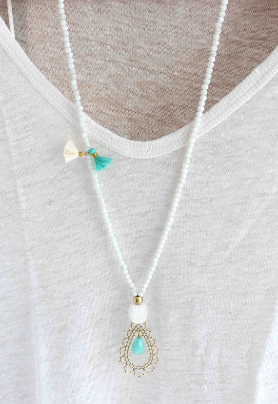 Aqua blue necklace. Gold pendant necklace. by lizaslittlethings, $30.00